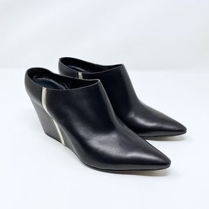 Costume National Silver Stripe Pointed Toe Mules
